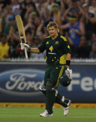 Shane Watson celebrates reaching his fifth one-day international hundred, Australia v England, 1st ODI, Melbourne, January 16, 2010
