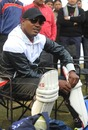 Brian Lara prepares to bat during a coaching clinic
