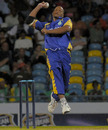 Javon Searles charges in during spell of 4 for 5, Barbados v Canada, Barbados, Caribbean T20, January 19, 2011