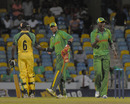 Captain Darren Sammy and Lyndon James celebrate Windwards' win, Jamaica v Windward Islands, Caribbean T20, Barbados, January 20, 2011