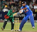 MS Dhoni hits one straight to the fielder, South Africa v India, 4th ODI, Port Elizabeth, January 21, 2011