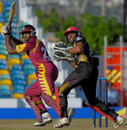 Chesney Hughes cuts behind point during his 50 off 39 balls, Canada v Leeward Islands, Caribbean T20, Barbados, January 21, 2011