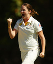 Rene Farrell celebrates the wicket of Katherine Brunt