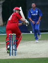 Freddie Klokker flicks to the boundary on his way to 39, Denmark v Italy, WCL Division Three, Hong Kong Cricket Club, January 22, 2011