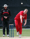 David Borchersen steams in for Denmark, Denmark v Italy, WCL Division Three, Hong Kong Cricket Club, January 22, 2011