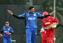 Dilan Fernando celebrates a Danish wicket