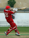 Rizwan Mahmood launches into an aggressive pull, Denmark v Italy, WCL Division Three, Hong Kong Cricket Club, January 22, 2011