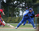 Rizwan Mahmood was run out by Hayden Patrizi for exactly fifty, Denmark v Italy, WCL Division Three, Hong Kong Cricket Club, January 22, 2011