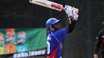 Steve Massiah smashes one of his sixes during his knock