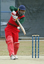 Oman captain Hemal Mehta plays a shot during his century, Oman v Papua New Guinea, WCL Division Three, Mong Kok, January 22, 2011