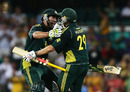 John Hastings and David Hussey celebrate the win, Australia v England, 3rd ODI, Sydney, January 23, 2011