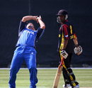 Peter Petricola completes a caught-and-bowled to end Papua New Guinea's innings, Italy v Papua New Guinea, WCL Division 3, Wong Nai, January 23, 2011
