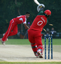 Awal Khan is clean bowled by Irfan Ahmed, Italy v Papua New Guinea, WCL Division 3, Wong Nai, January 23, 2011