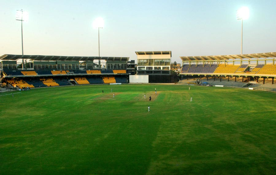 The R Premadasa Stadium under lights