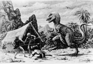llustration for an unidentified Ray Harryhausen film showing a dinosaur attacking a group of cavemen outside of a tent, circa 1965