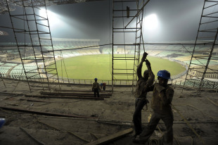 Work continues at Eden Gardens after it had a World Cup match taken away from it, Kolkata, January 27, 2011