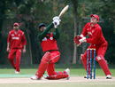 Hemin Desai lofts a six during his 17-ball 51, Denmark v Oman, WCL Division Three, Kowloon, January 28, 2011