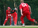 Jacob Larsen clean bowled Sultan Ahmed on his way to a four-wicket haul, Denmark v Oman, WCL Division Three, Kowloon, January 28, 2011