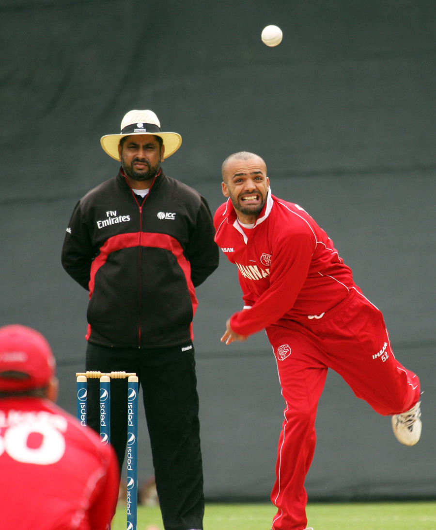 Left-arm spinner Bashir Shah bowls for Denmark