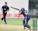 Bhanuka Rajapaksa cracks one through the off side during his century, Sri Lanka Under-19 v England Under-19, 1st Youth ODI, January 28, 2011