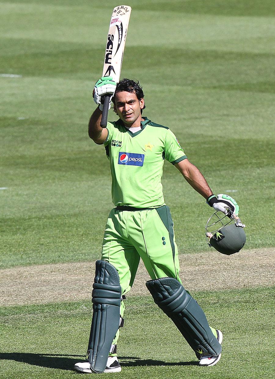 Mohammad Hafeez celebrates his maiden ODI century