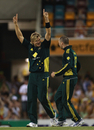 Shane Watson wrapped up Australia's win with his third wicket, Australia v England, 5th ODI, Brisbane, January 30, 2011