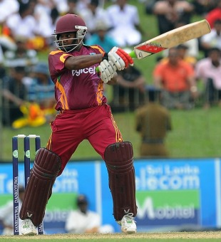 Adrian Barath cuts with power, Sri Lanka v West Indies, 1st ODI, SSC, Colombo, January 31, 2011