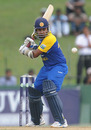 Mahela Jayawardene prepares for a shot during his unbeaten 48, Sri Lanka v West Indies, 2nd ODI, Colombo, February 3, 2011