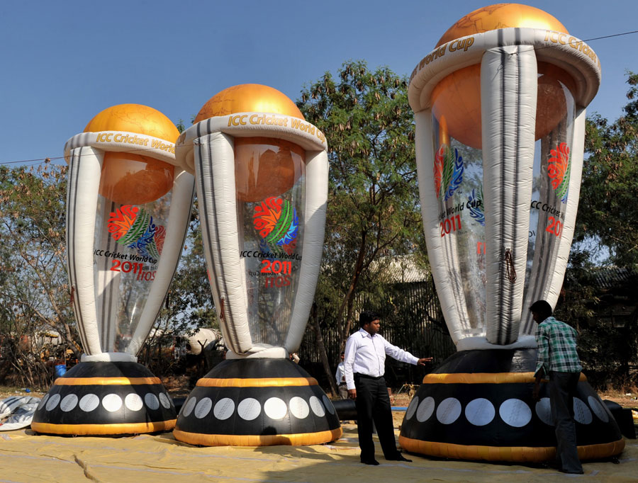 Giant-size inflatable balloon replicas of the World Cup
