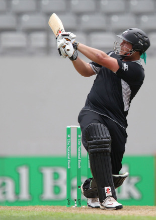 Jesse Ryder goes aerial through the leg side, New Zealand v Pakistan, 6th ODI, Auckland, February 5, 2011