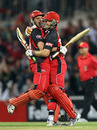 Cameron Borgas and Daniel Harris celebrate their title win, South Australia v New South Wales, KFC Twenty20 Big Bash final, Adelaide, February 5, 2011
