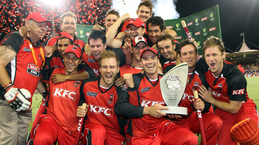 South Australia celebrate after winning the KFC Twenty20 Big Bash final