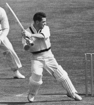 Neil Harvey cuts behind point, Australians v Surrey, The Oval, 1st day, May 16, 1956
