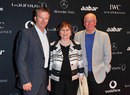 Steve Waugh poses with football legend Sir Bobby Charlton and his wife at the Laureus sports awards welcome party