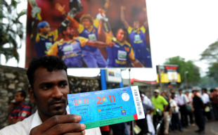 A Sri Lankan fan shows his World Cup ticket, Colombo, February 7, 2011