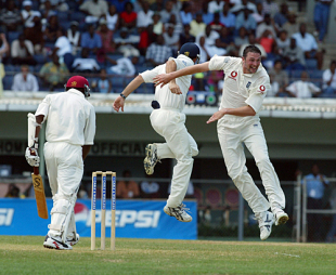 Harmison celebrates England's first wicket