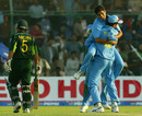 India celebrate as Moin Khan walking back after being dismissed, Pakistan v India, 1st ODI, Karachi, March 13, 2004