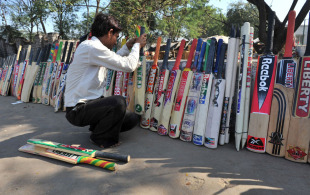 Cricket bats being sold outside a workshop in Hyderabad, Hyderabad, February 8, 2011