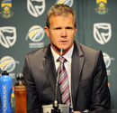 South Africa coach Corrie van Zyl prior speaks to the team's departure to the subcontinent, Johannesburg, February 8, 2011
