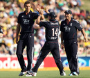 Chris Tremlett is congratulated on a wicket, Australia v England, 4th ODI, Adelaide, January 26, 2011