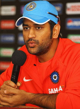 MS Dhoni answers media questions at the Chinnaswamy Stadium, Bangalore, February 10, 2011