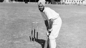 AG Kripal Singh poses in a batting shot