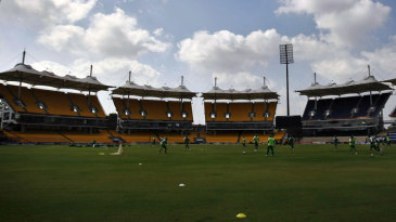 South Africa train against the backdrop of the Chidambaram Stadium's towering stands
