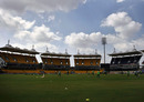 South Africa train against the backdrop of the Chidambaram Stadium's towering stands, Chennai, February 11, 2011