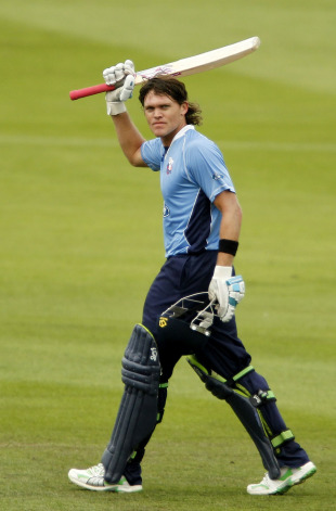 Auckland Aces' Lou Vincent celebrates his century in the final of the New Zealand domestic one-day competition, Canterbury Wizards v Auckland Aces, Chirstchurch, February 13, 2011