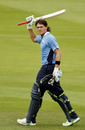 Auckland Aces' Lou Vincent celebrates his century in the final of the New Zealand domestic one-day competition