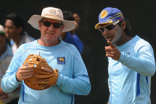 Sri Lanka coach Trevor Bayliss and Kumar Sangakkara share a thought during practice, R Premadasa Stadium, Colombo, February 14, 2011