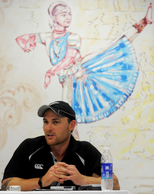 Brendon McCullum speaks to the media after a practice session, Chennai, February 14, 2011