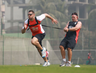 Tim Bresnan undergoes a fitness test during practice for his injured calf, Sher-e-Bangla, Dhaka, February 14, 2011