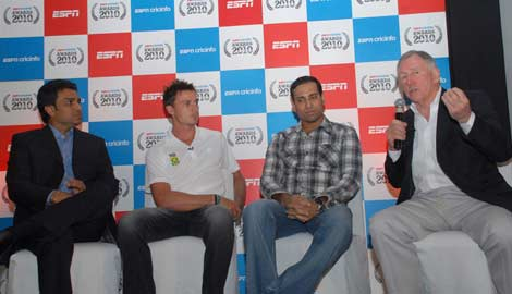 Dale Steyn and VVS Laxman talk to Sanjay Manjrekar and Ian Chappell at the ESPNcricinfo awards